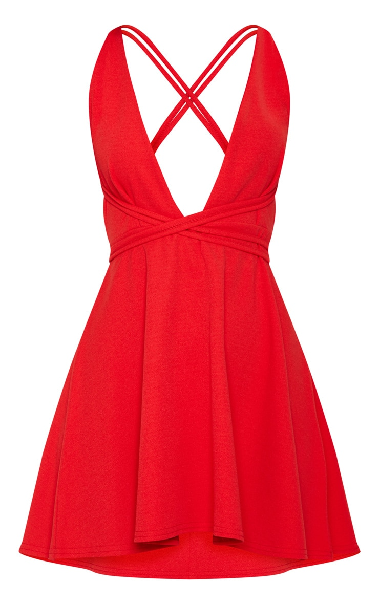 Red Wrap Detail Skater Dress 3