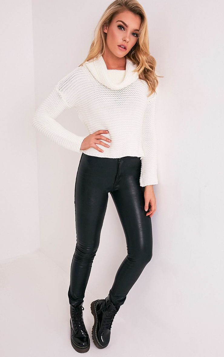 Resi Cream Roll Neck Long Sleeve Crop Jumper 6