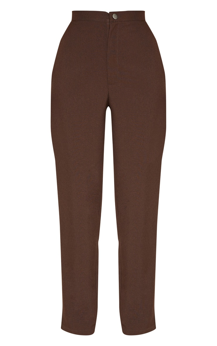 Chocolate High Waisted Slim Leg Trouser 3