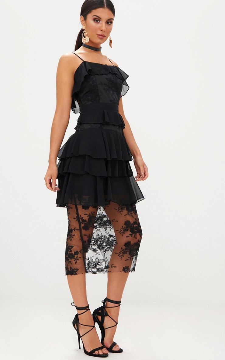 Black Strappy Lace Chiffon Layer Midi Dress 3