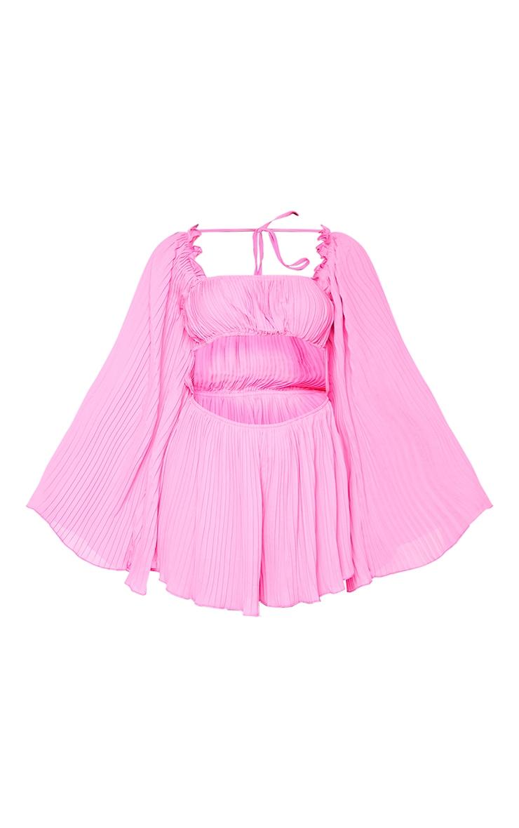 Bright Pink Pleated Long Sleeve Frill Hem Playsuit 5