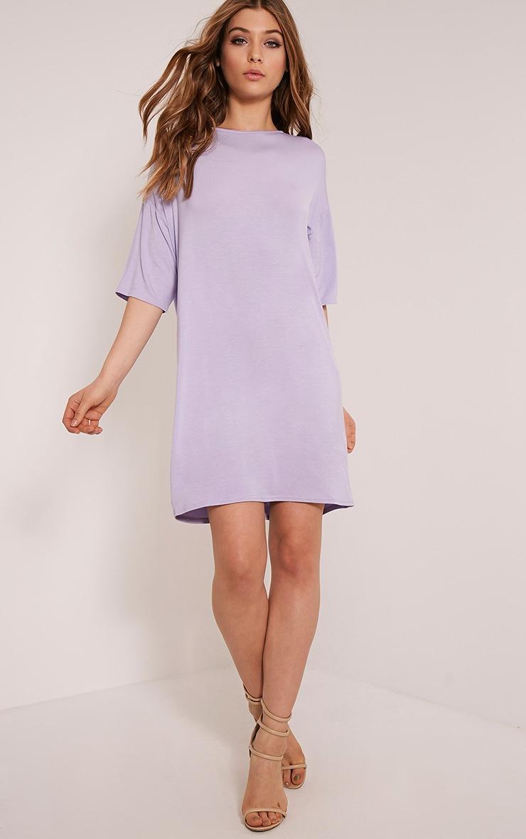 Basic Lilac Drop Shoulder T Shirt Dress 5
