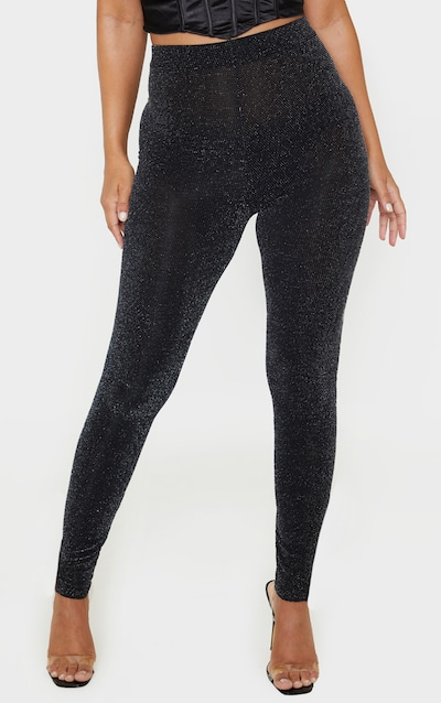 Petite Black Textured Glitter Legging