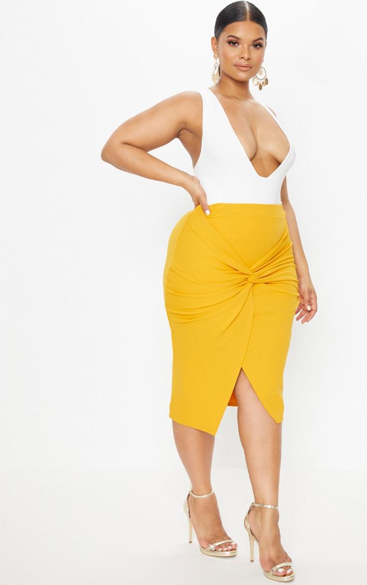 Plus Mustard Knot Front Midi Skirt 1