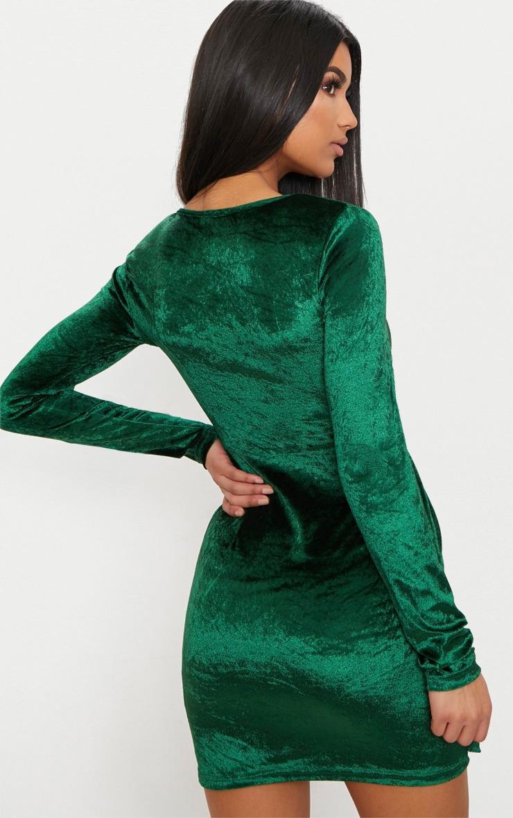 Emerald Green Long Sleeved Velvet Wrap Detail Bodycon Dress 2