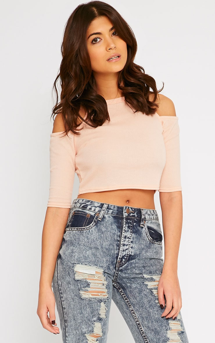 Basic Nude Cut Out Shoulder Crop Top 1