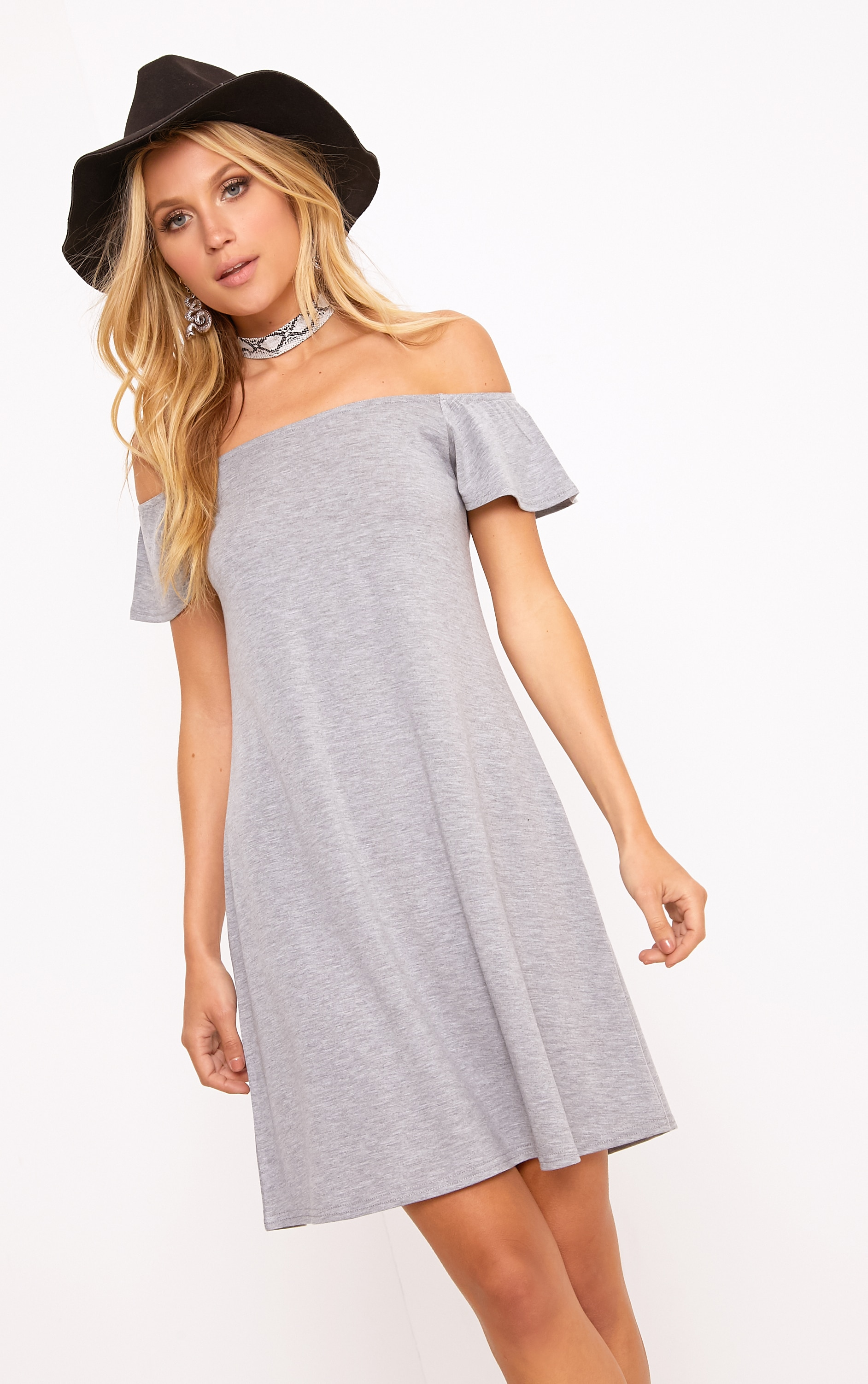 Manina Grey Marl Jersey Bardot Swing Dress