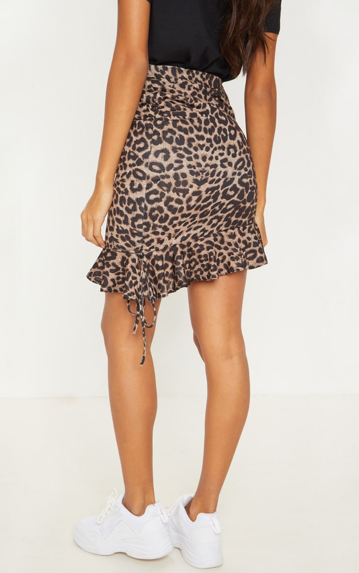 True Leopard Printed Ruched Detail Mini Skirt 4
