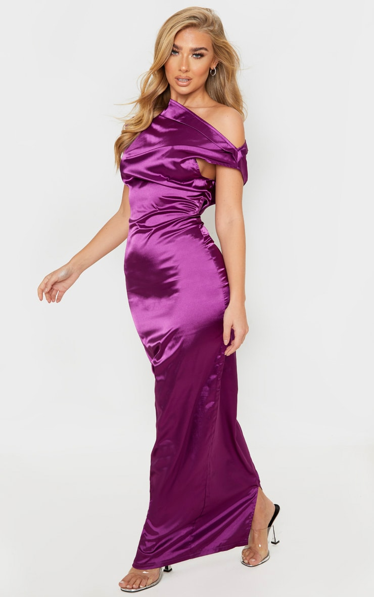 Purple Off Shoulder Pleat Detail Satin Maxi Dress 4