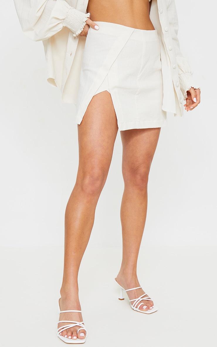 Petite Stone Button Detail Linen Look Look Mini Skirt 2