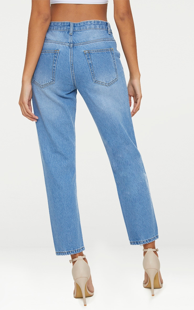 Mid Wash Zip Up Leg Mom Jean 4