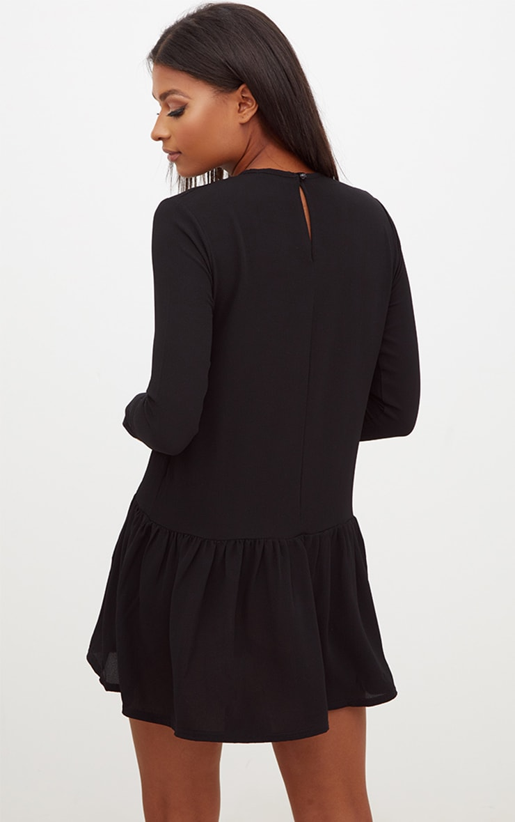 Black Long Sleeve Frill Hem Shift Dress 2