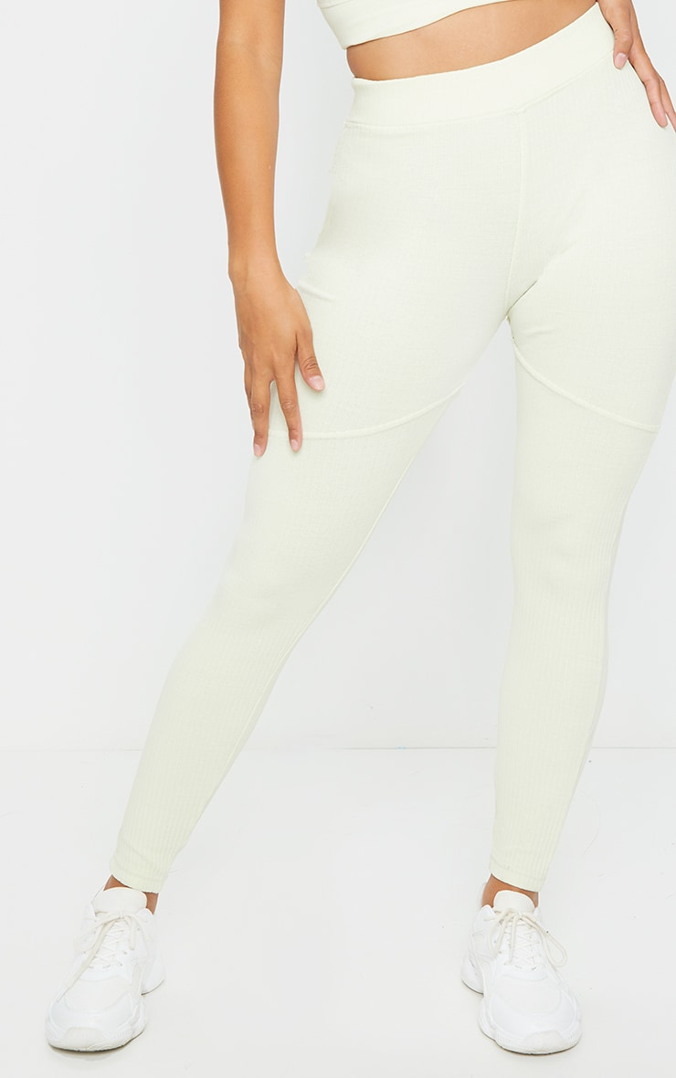Shape Cream Washed Rib Panelled Leggings 3