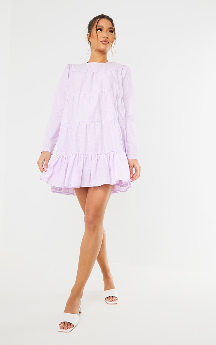 Lilac Gingham Tiered Hem Long Sleeve Shift Dress 3