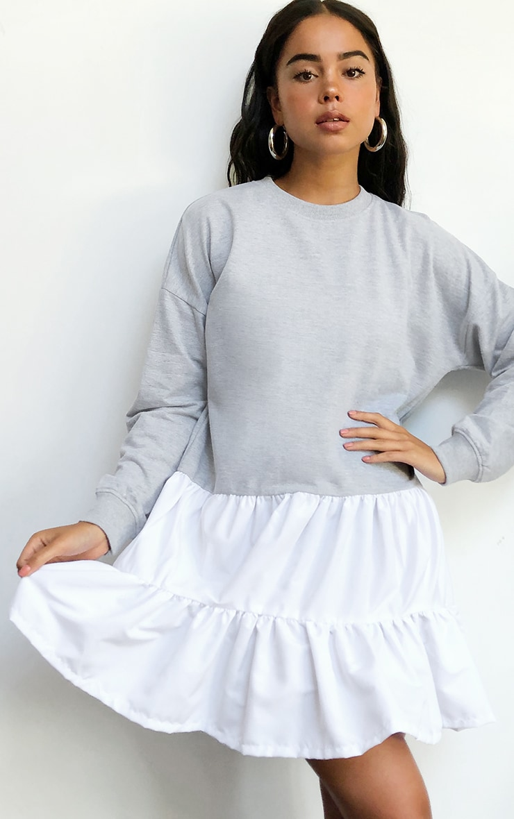 Grey Woven Tiered Hem Sweat Sweater Dress 3