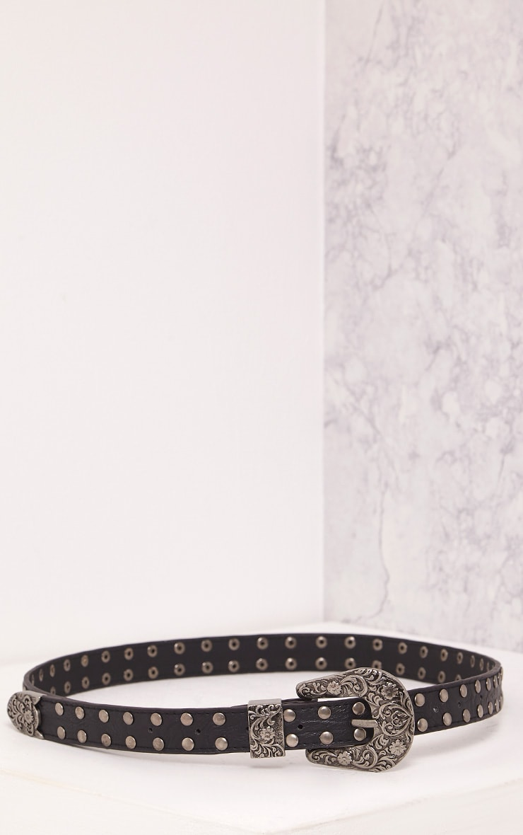 Licilla Black Studded Detail Belt 6