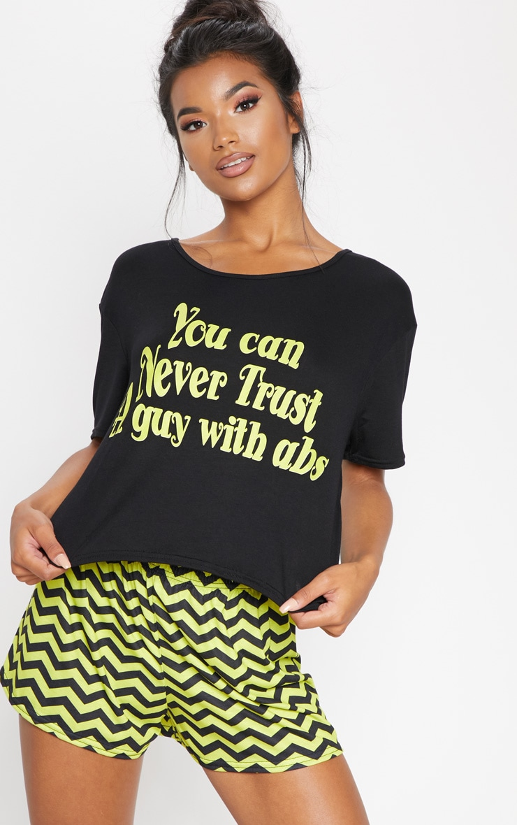 Black Never Trust A Guy With Abs Short PJ Set