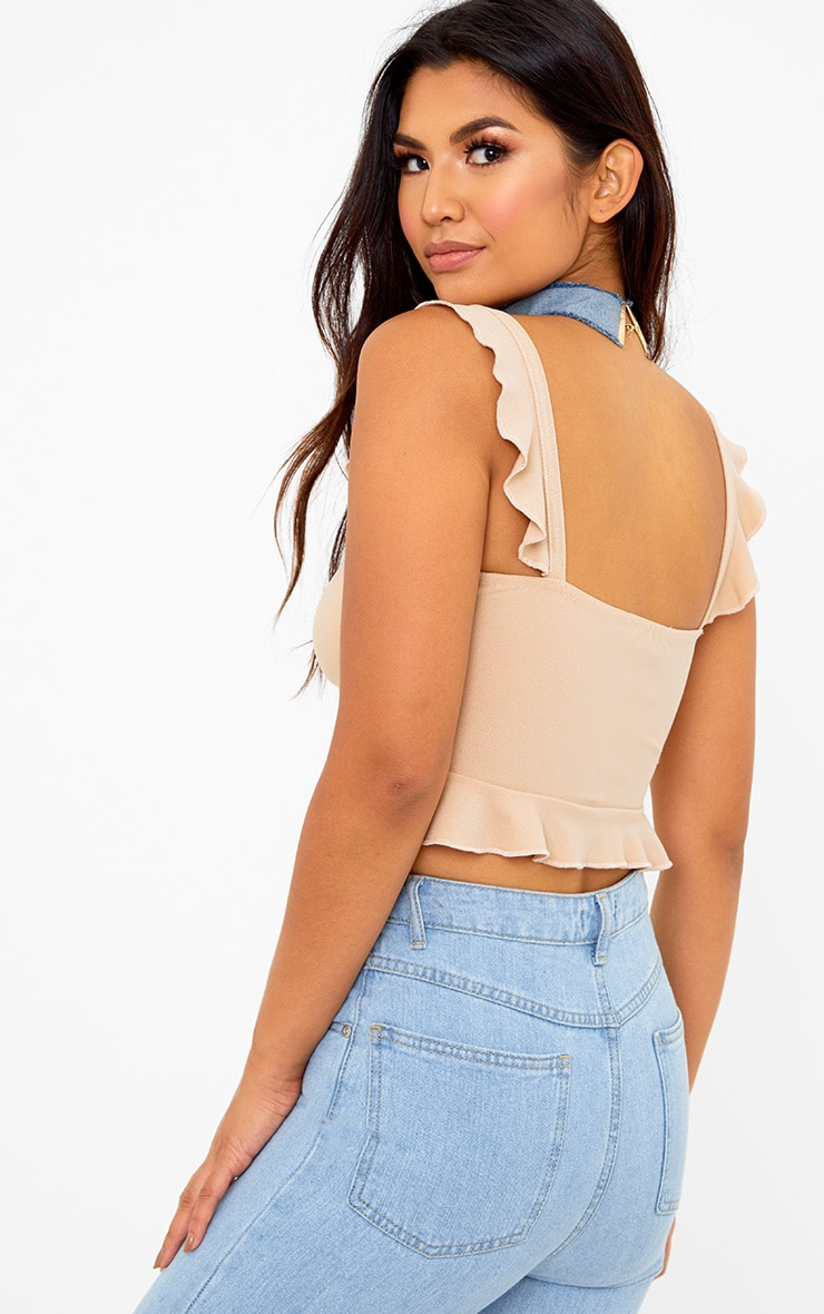 Stone Frill Sleeveless Crop Top 2
