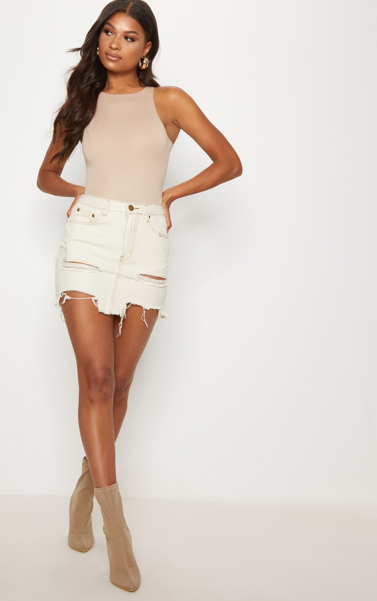 Contrast Stitch Distressed Denim Ecru Mini Skirt 5