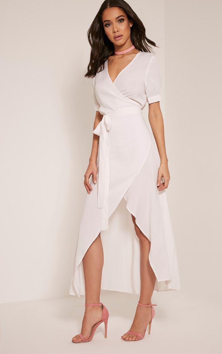 Renesmee robe chemise maxi blanche cache-cœur 10