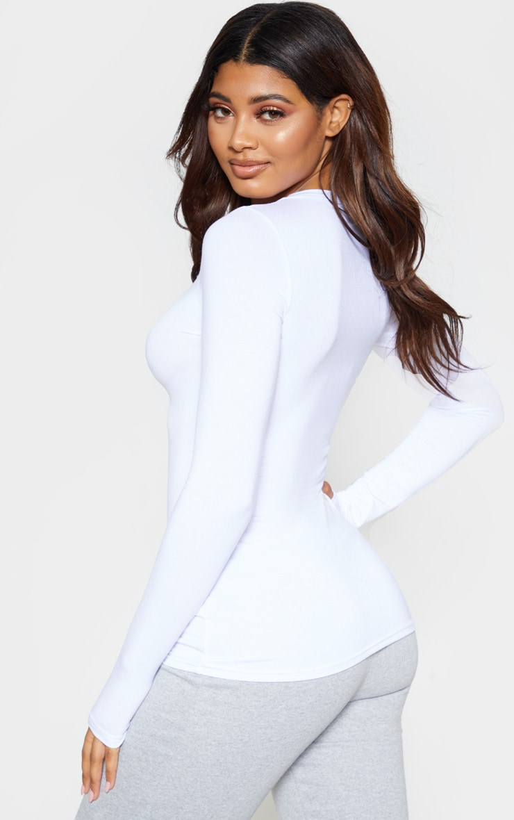 Tall White Basic Long Sleeve Top 2