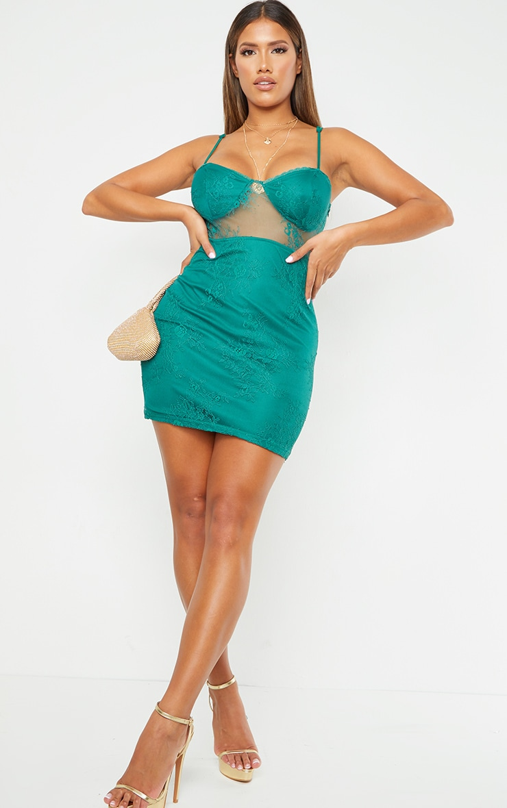 Shape Green Cup Detail Sheer Lace Bodycon Dress 3