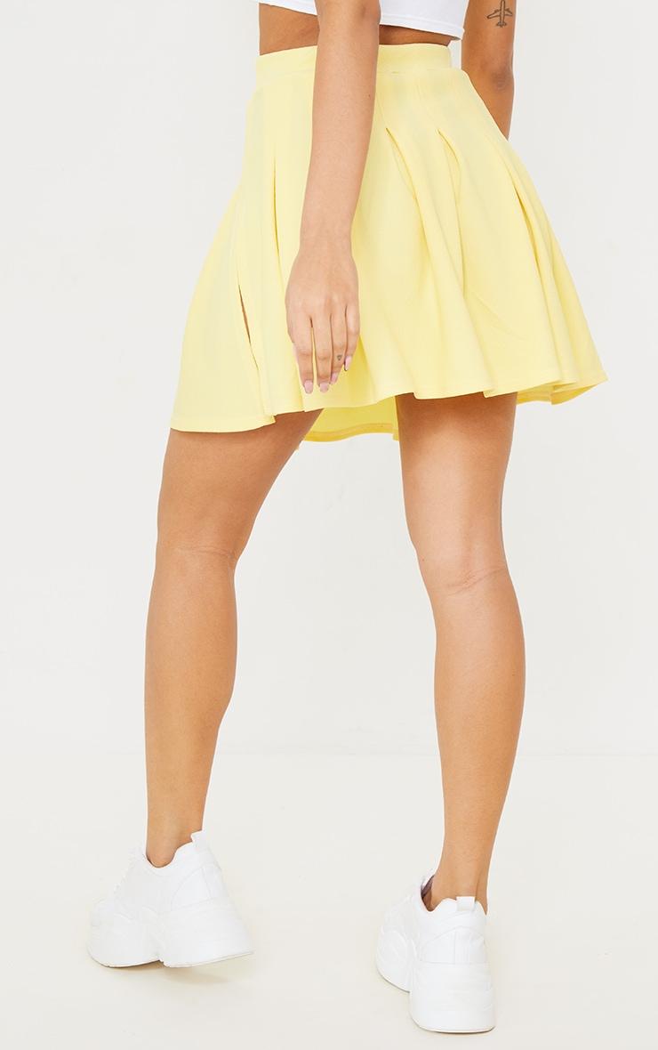 Lemon Yellow Pleated Side Split Tennis Skirt 3