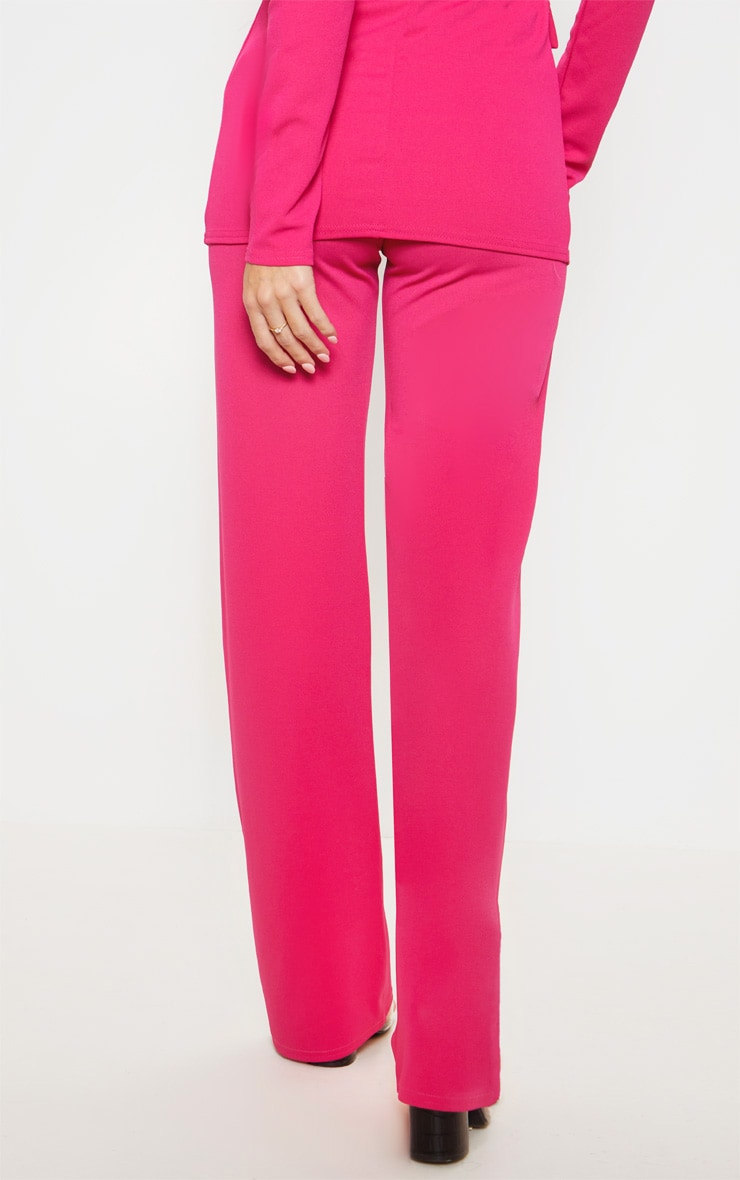 Pink Crepe Straight Leg Pants 4