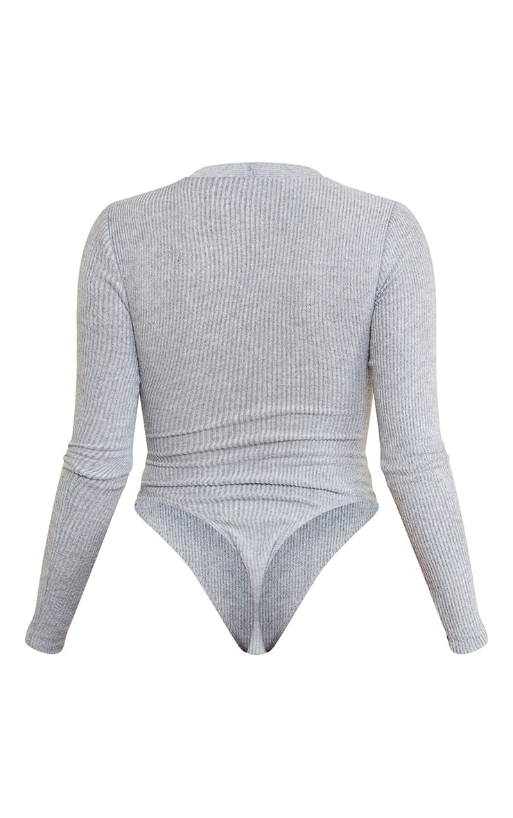 Shape Grey Brushed Rib Long Sleeve Square Neck Bodysuit 6