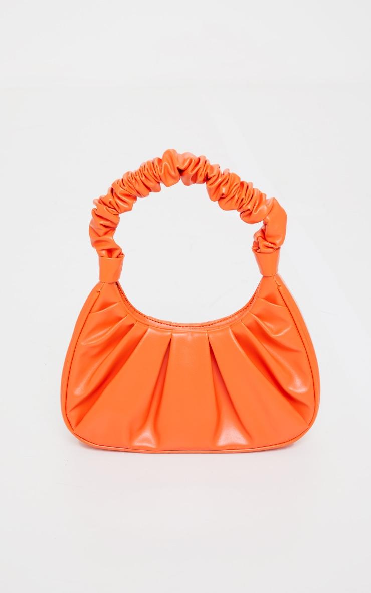 Orange Extreme Ruched Handle Shoulder Bag 1