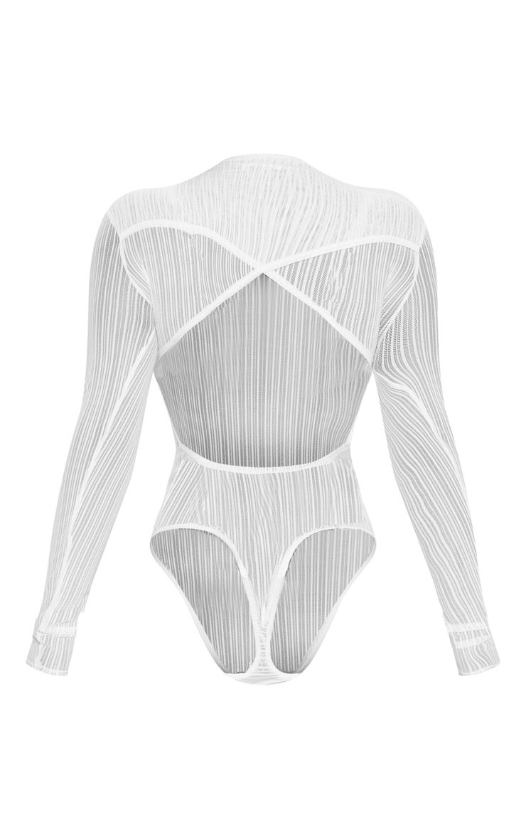 White Mesh Cut Out Back Bodysuit 6