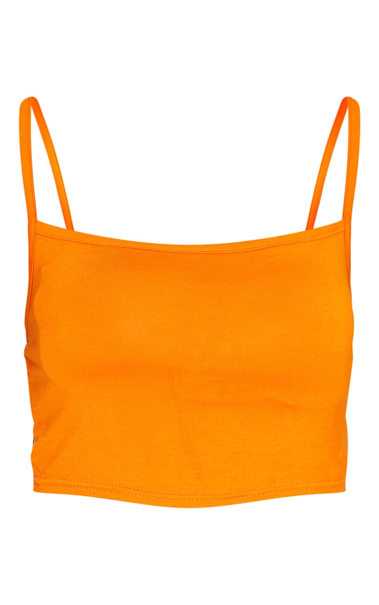 Orange Strappy Jersey Crop Top 5