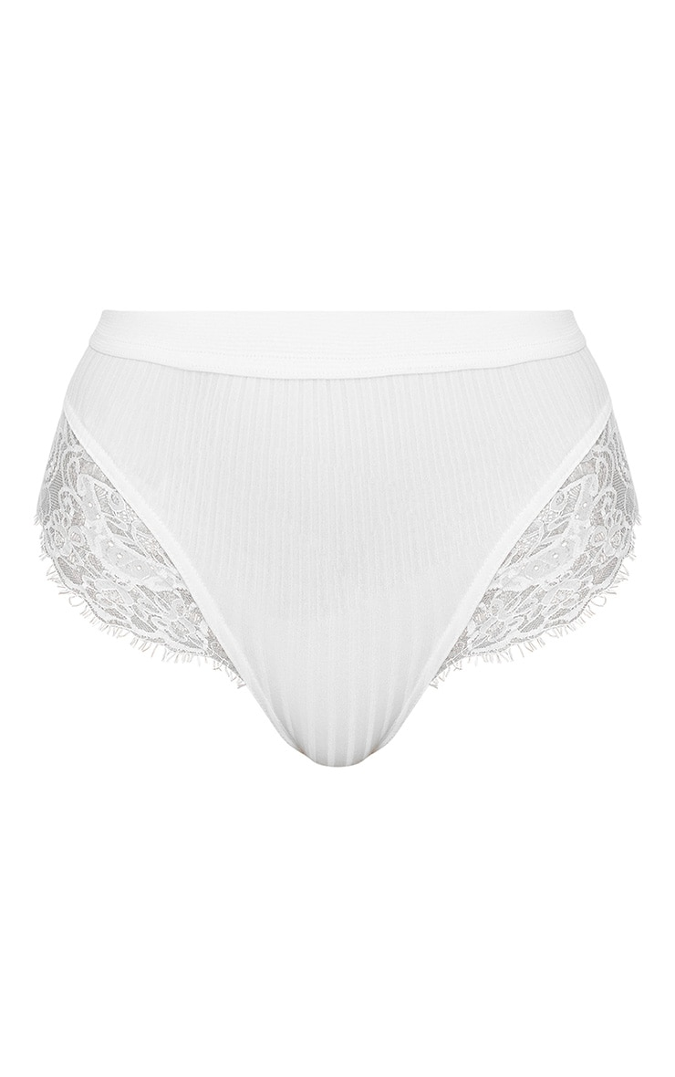 White Ribbed & Lace Mix Knickers 3
