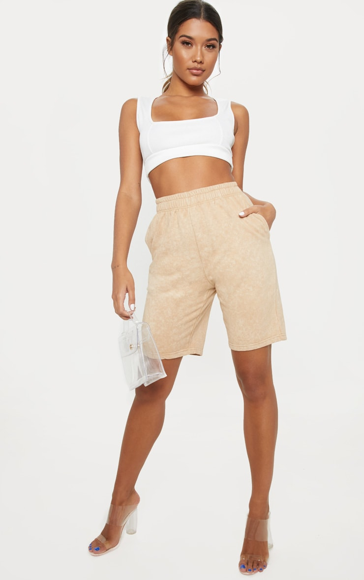 Taupe Washed Sweat Longline Short  5