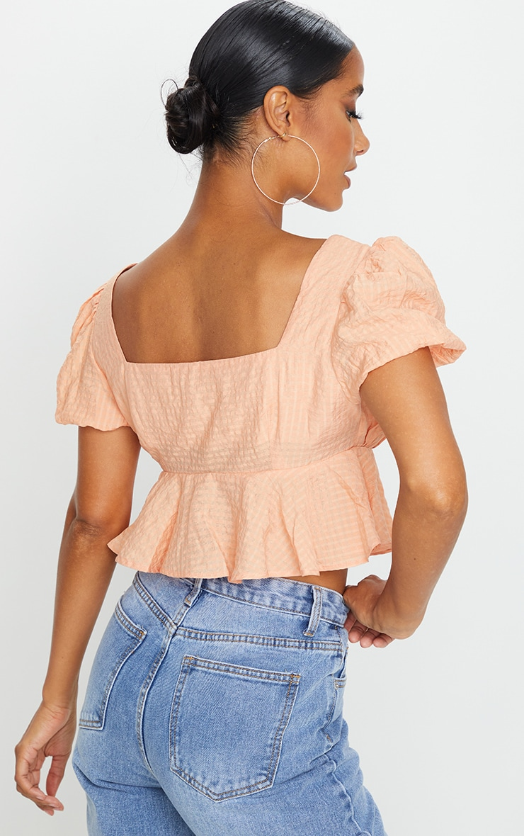 Pink Textured Button Front Puff Sleeve Crop Top 2