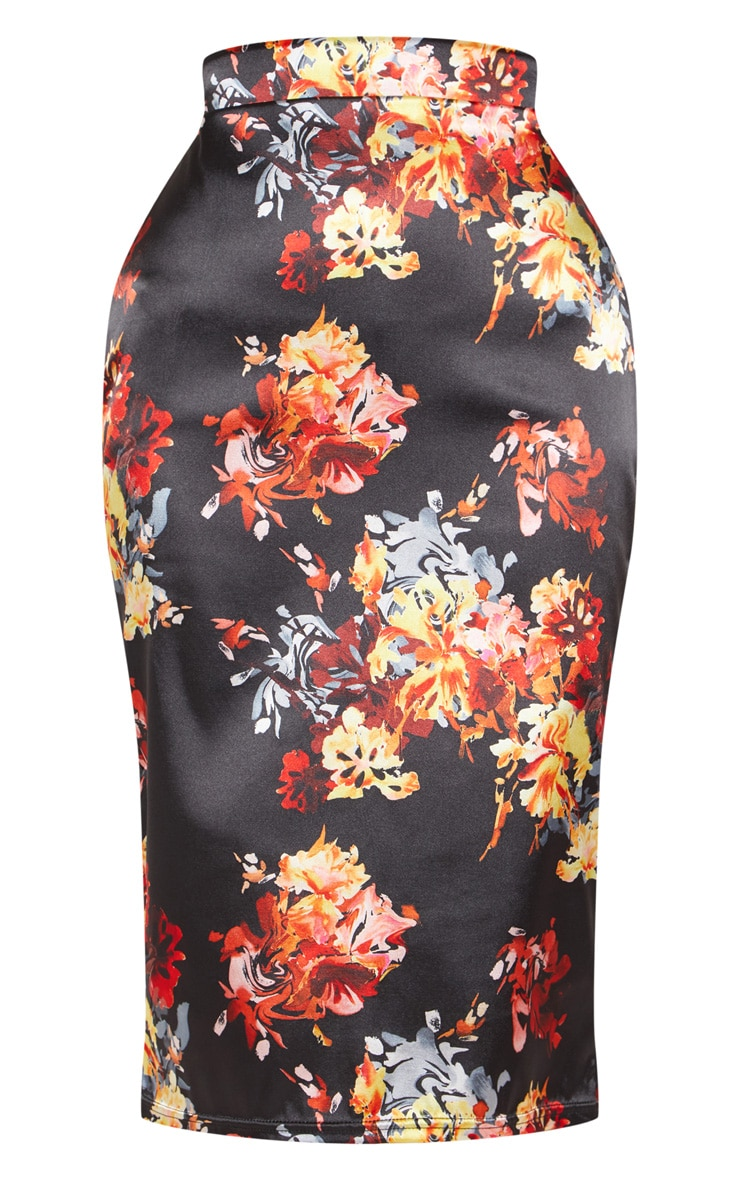 Black Satin Floral Print Pencil Skirt 3