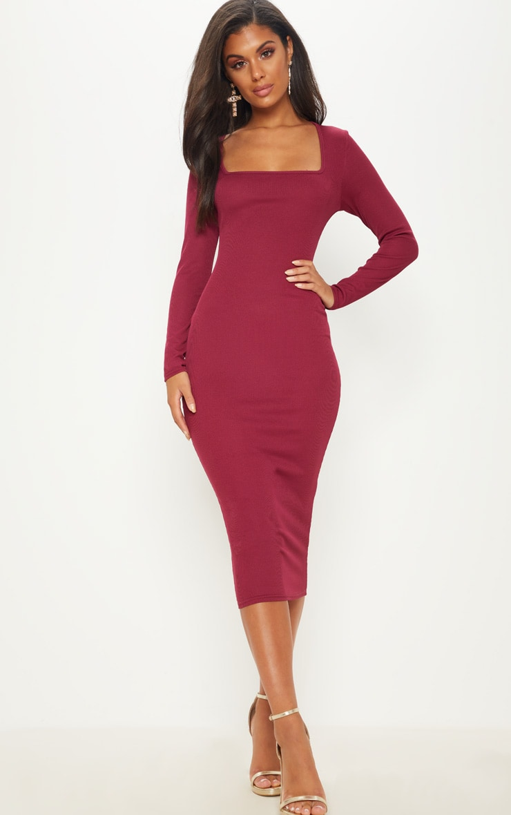 Burgundy Ribbed Long Sleeve Midaxi Dress