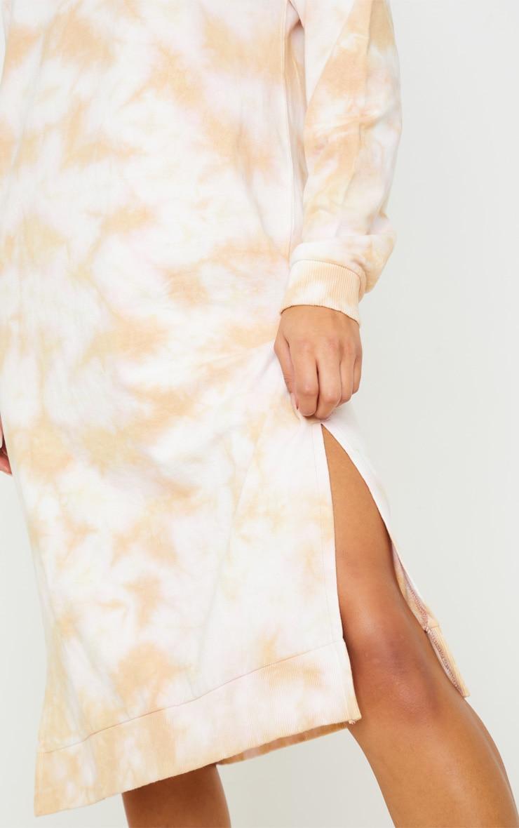 Blush Tie Dye Oversized Long Sleeve Sweat Midi Dress  5