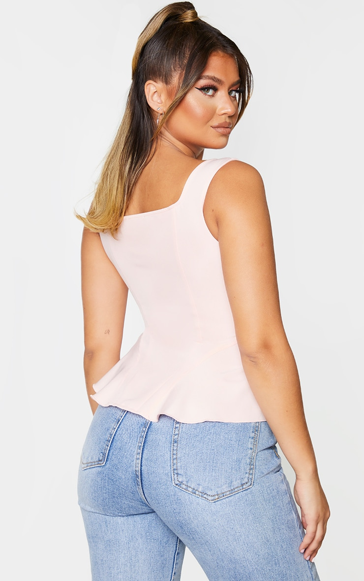 Blush Pink Woven Structured Corset Long Top 2