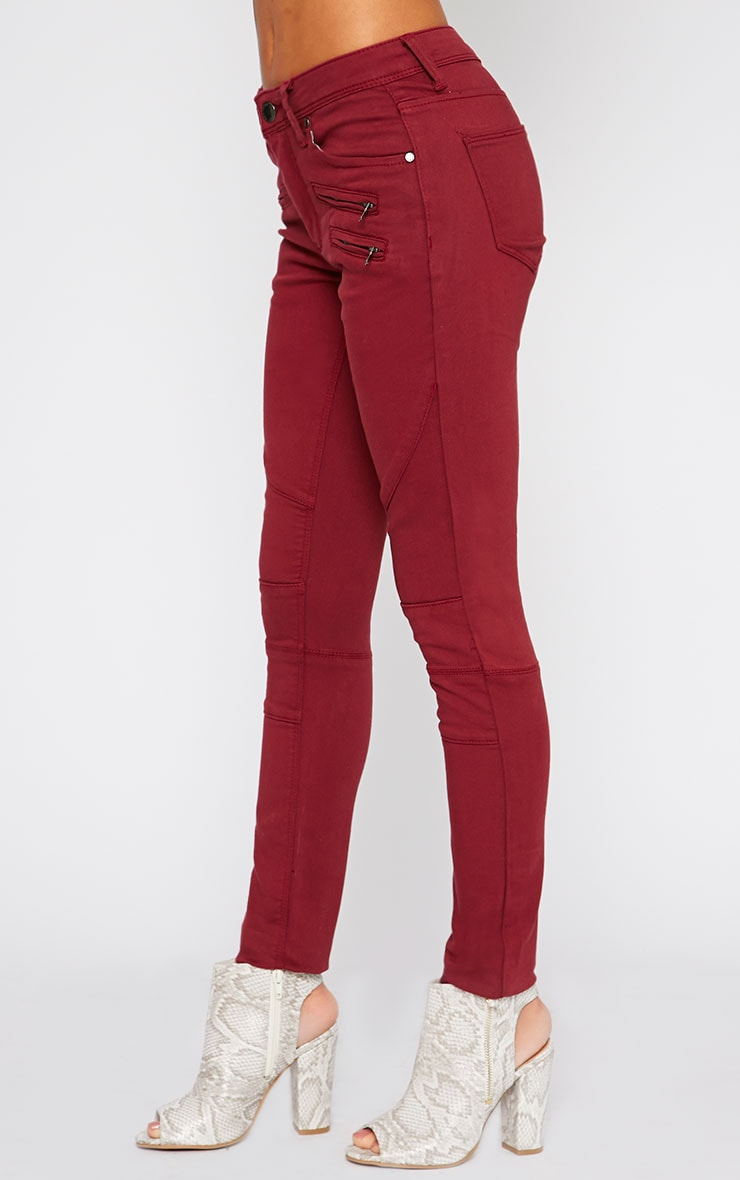 Perrine Burgundy Zip Pocket Skinny Jean  3