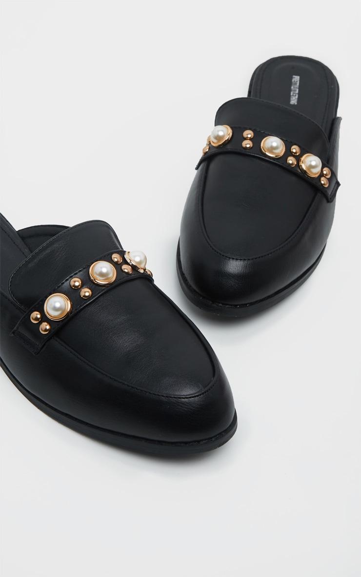 Mules plates noires à perles  4