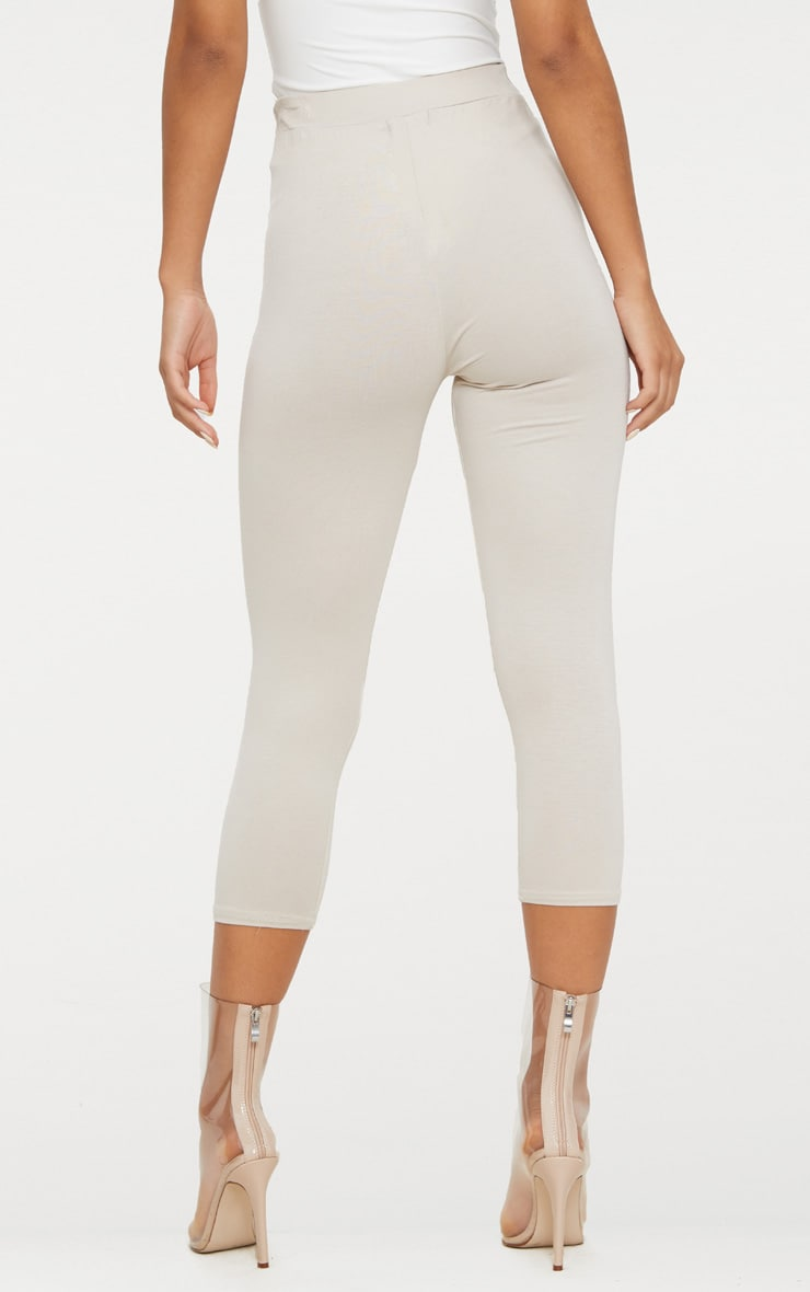 Stone Basic Cropped Jersey Leggings  4
