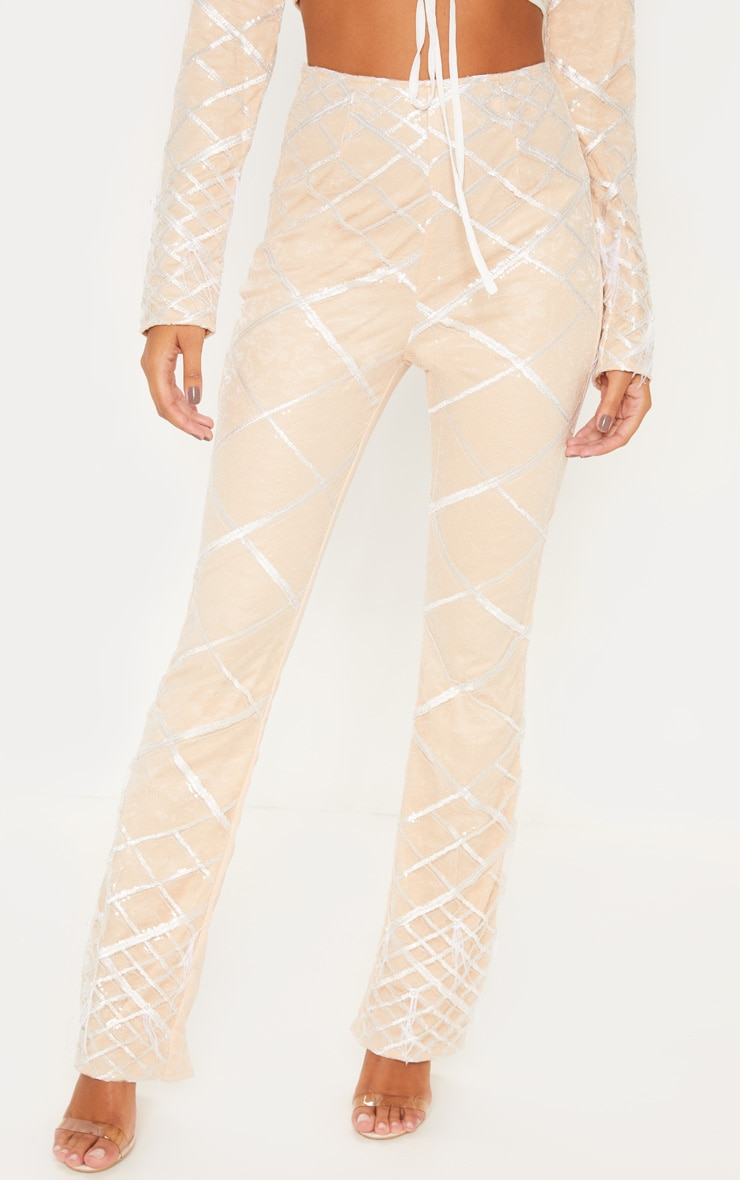 Nude Embroidered Sequin Flared Trousers 2