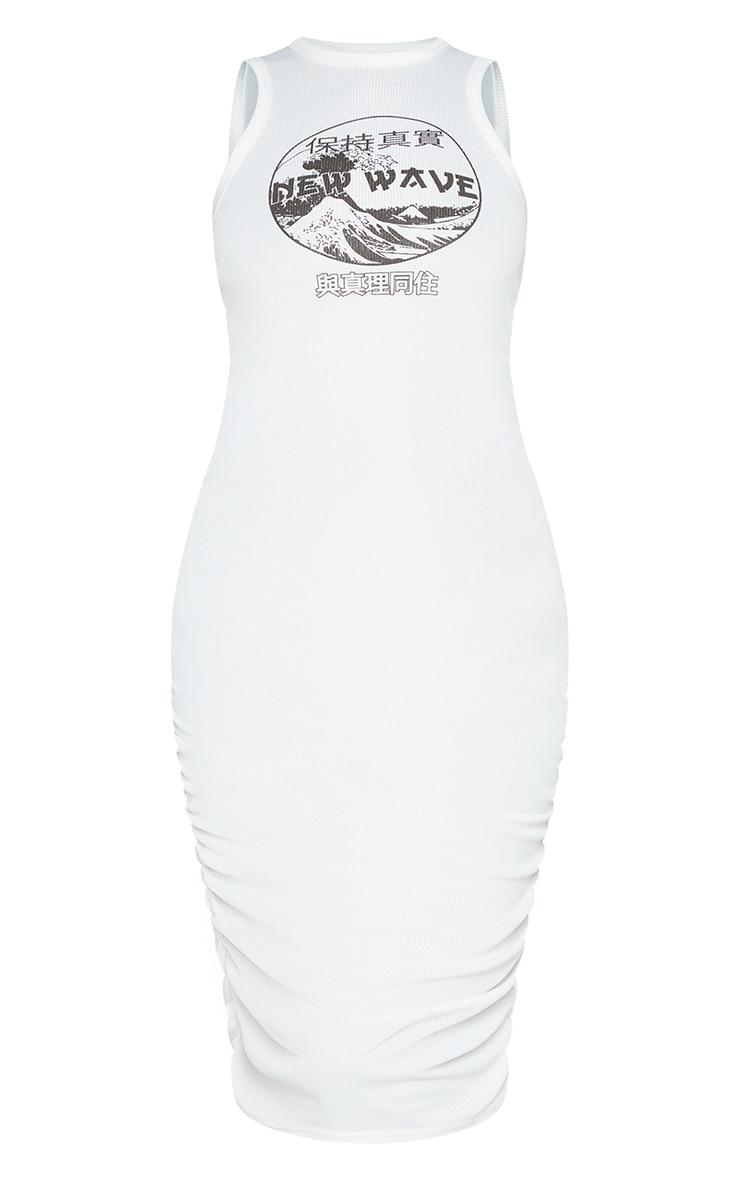 Cream New Wave Printed Ruched Rib Bodycon Dress 5