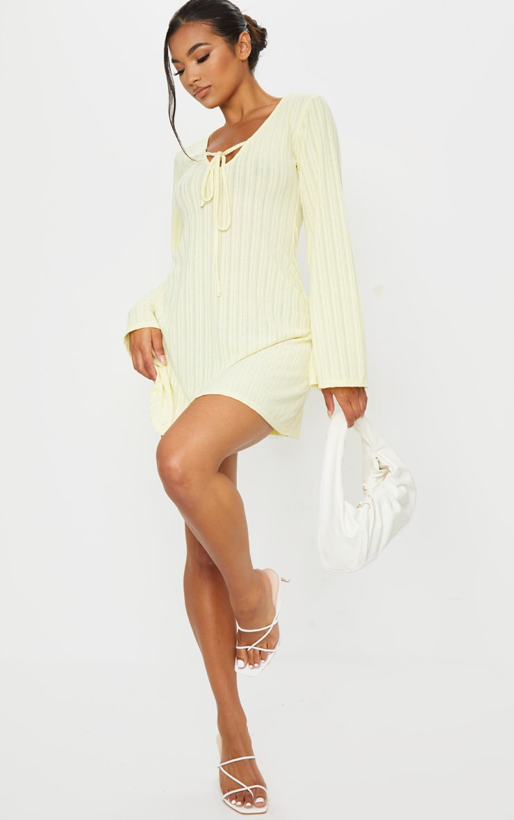 Cream Fine Rib Tie Neck Shift Dress 3