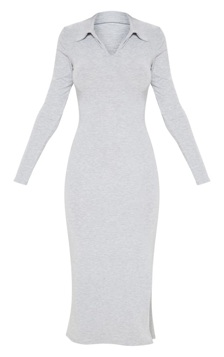 Robe mi-longue grise style polo 3