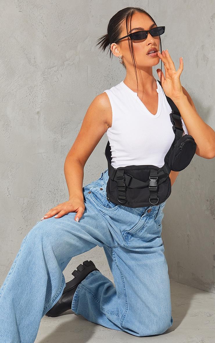 Black Nylon Multi Pocket Cross Body Bag 1
