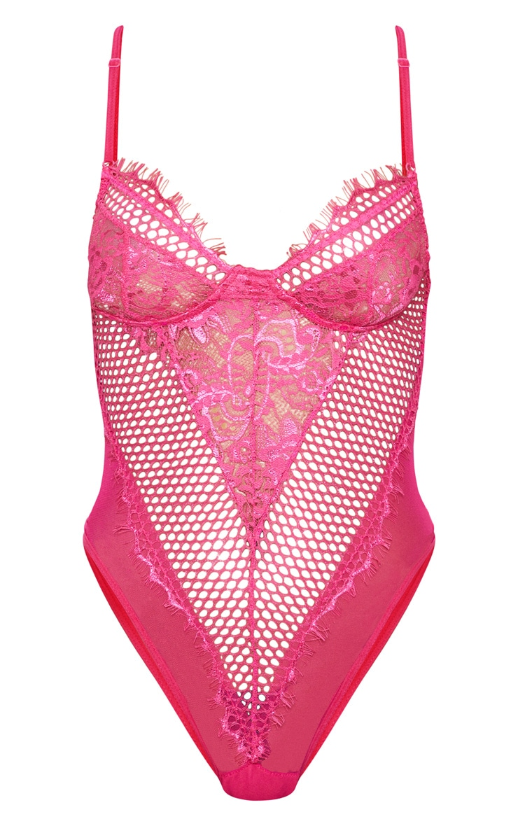 Hot Pink Eyelash Lace & Fishnet Body 3