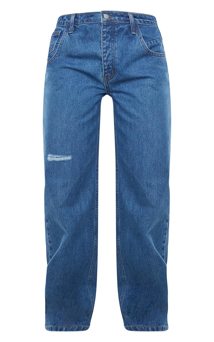 Mid Blue Wash Asymmetric Waist Wide Leg Jeans 5