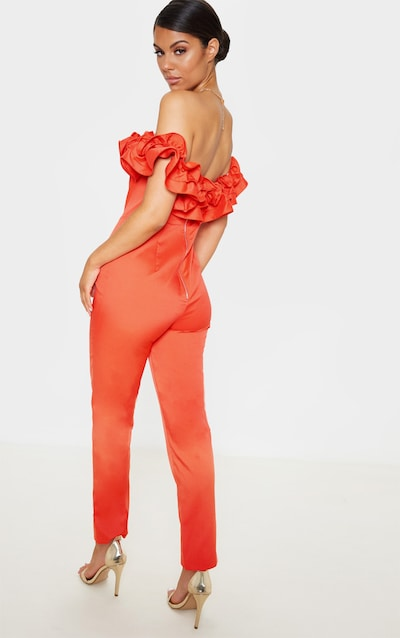 Orange Bardot Frill Detail Slim Leg Jumpsuit
